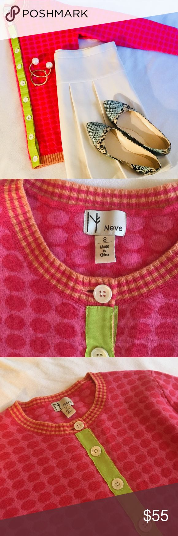 Bebe Pink Circle Cardigan Sweater Super cute high quality luxury sweater in excellent used condition. Features two-toned pink knit printed circle design with orange trim and lime green grosgrain ribbon front panel. Perfect addition to any preppy and stylish wardrobe. Size Small but can easily fit a Medium Neve Sweaters Cardigans