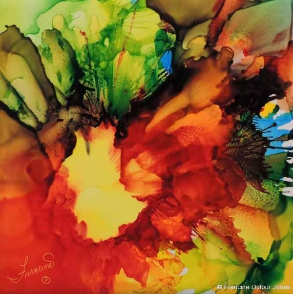 Free Basic Alcohol Inks Class: Artist Francine Dufour Jones is testing online AI teaching method. This free page offers videos on supplies and techniques as well as a page of tips and lots of samples - some good stuff!