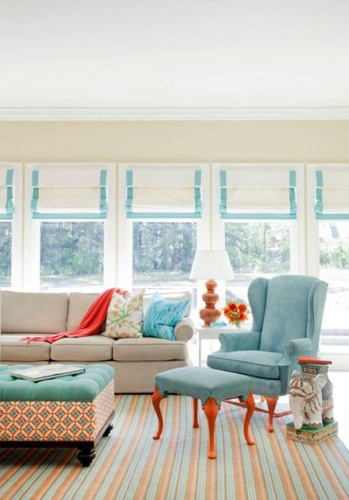 Turquoise Orange White Living Room Decorating by Tobi Fairley