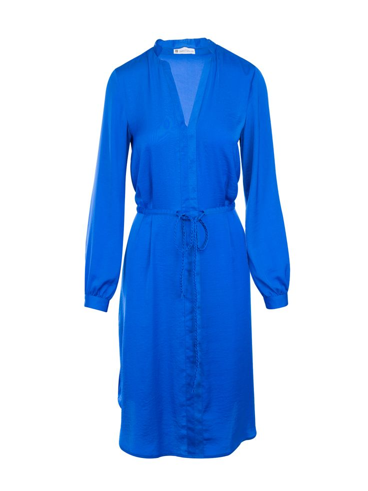 Royal Blue Silk Long Sleeve Dress By Nicole Richie