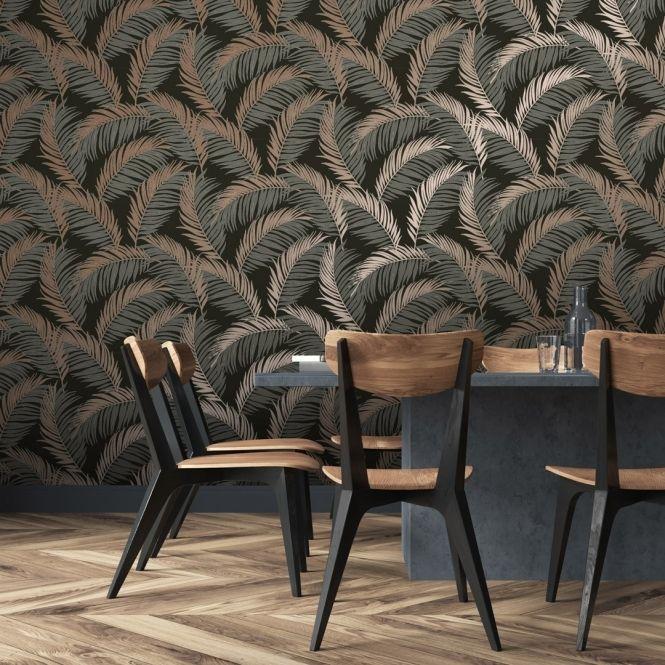 Vivienne Leaf Wallpaper Charcoal Copper Leaf Wallpaper Copper Wallpaper Feature Wallpaper