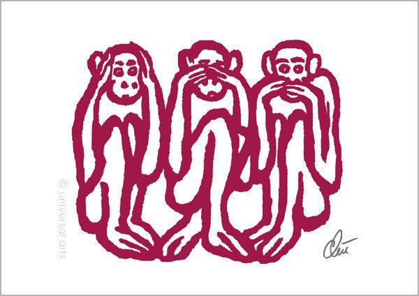 JACQUELINE DITT - 3 Wise Monkeys Orig.Grafik handsigniert Bilder drei Affen Tier