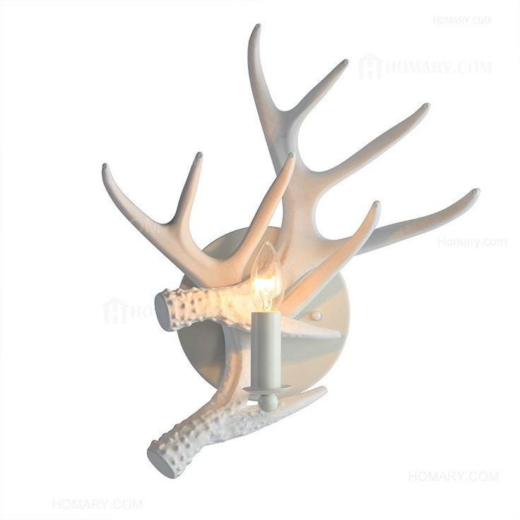 Lodge Pure White Two Faux Resin Antlers 1-Light Indoor Wall Sconce & Round Backplate