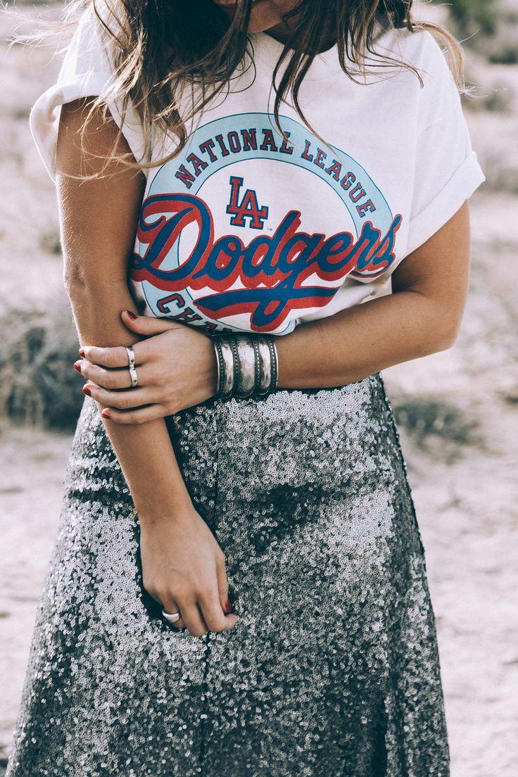 Sequin midi skirt, sneakers, vintage t-shirt