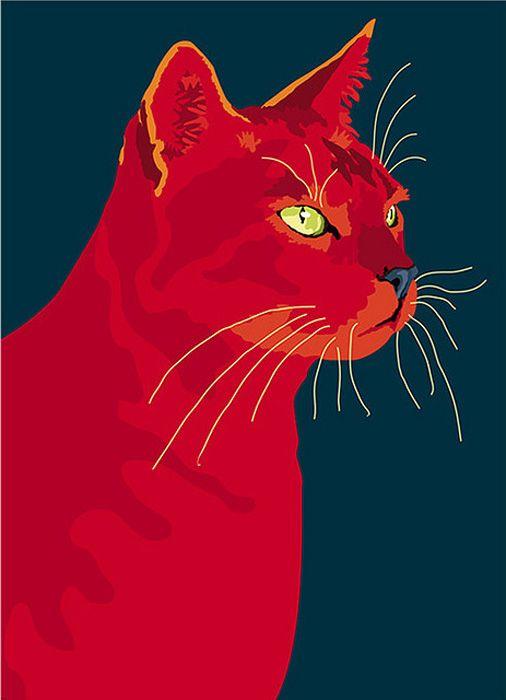 Un maravilloso cuadro de gato en rojo. De Sebastiano Ranchetti  Laura Ottina