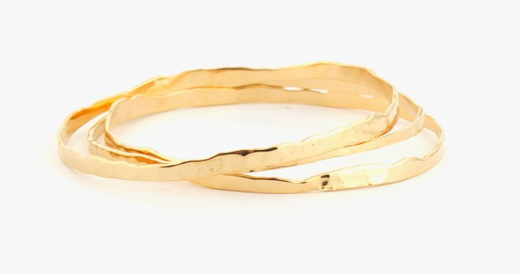 Set Of Three GOLD Bangles, 3 14K GOLD Wide Bracelet For Women, 3 Shiny Hammered Bracelet , Delicate Wide Bracelet by LIRANSHANI on Etsy