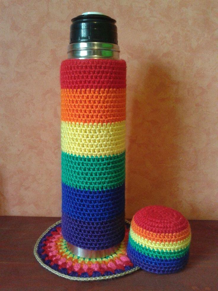 Tejidos Artesanales A Crochet: Funda Para Termo Bala De 1 L. - $ 130,00 en MercadoLibre
