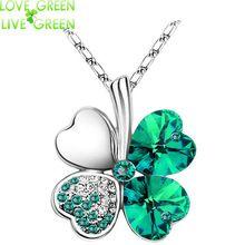 Dia das mulheres fábrica hotsell Folhas do Trevo de quatro Folhas de Cristal Austríaco strass coração pingente de colar de jóias 9554(China (Mainland))