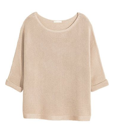 Light beige. Purl-knit sweater in a cotton blend. 3/4-length sleeves with sewn cuffs.