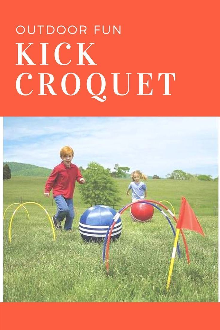 Kids will have a ball with this amazing croquet game! Kick croquet combines the fun of running and kicking a ball with the extra added attraction of guiding it through a course of wickets.  #croquet #kick #ball #outdoor #game #unplug #ad #baseballgame