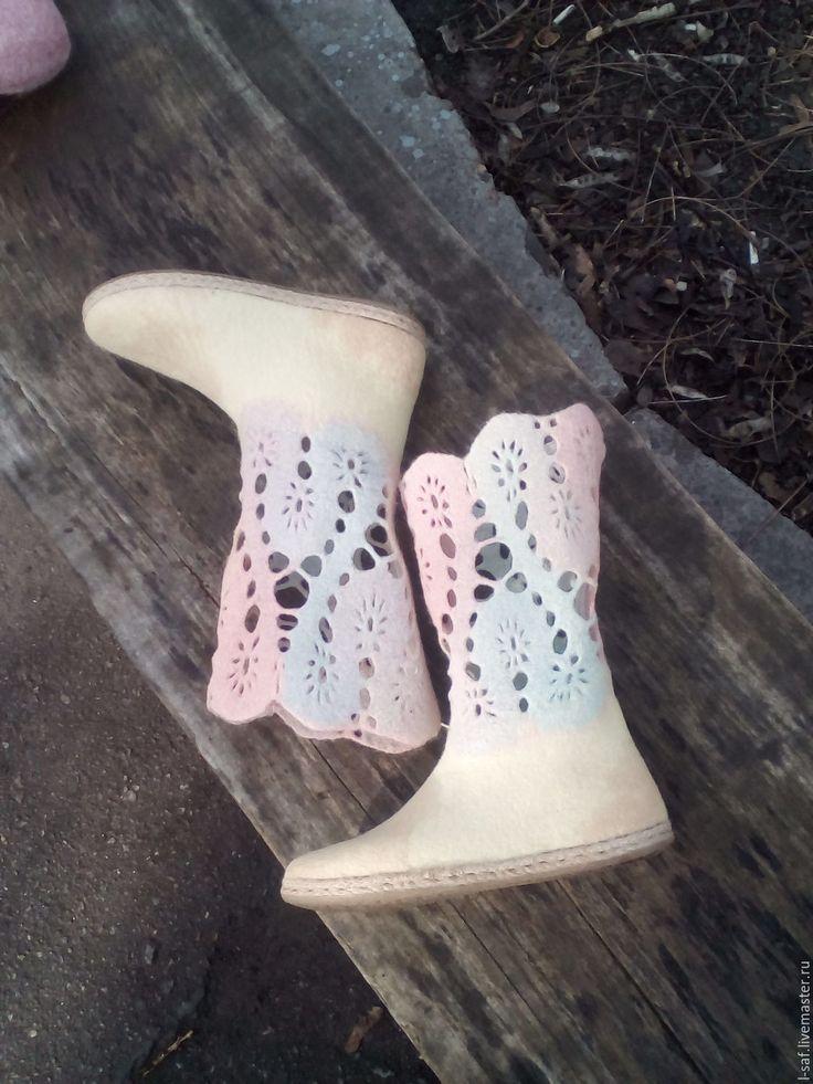 """Купить Валяные весенние сапожки """"Ажур"""" - авторская ручная работа, валяные сапожки, демисезонная обувь"""