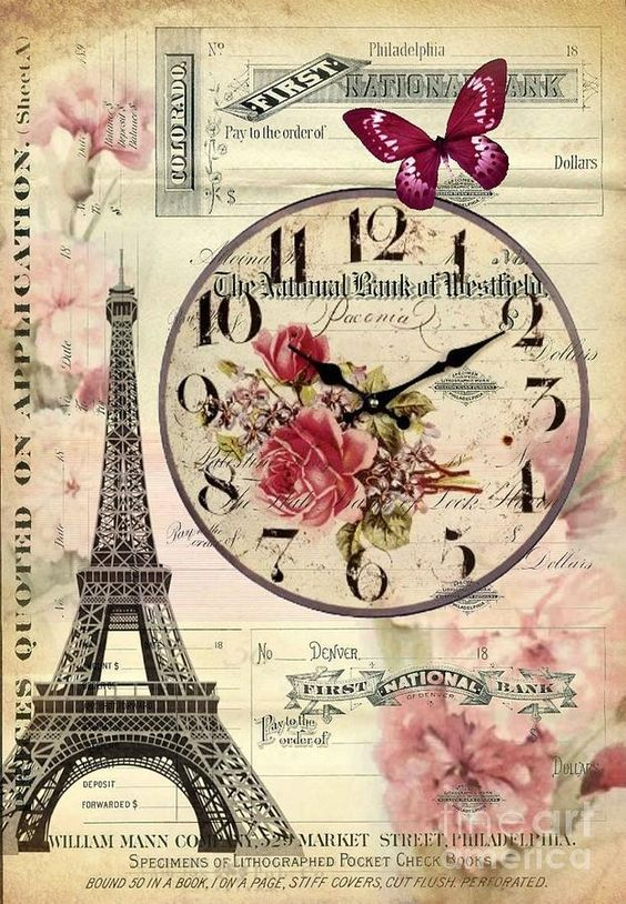 French Botanical Art Digital Art - Vintage Paris Butterfly Antique Clock by Cranberry Sky: