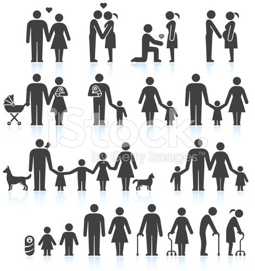 Men and women Family Life black & white icon set in 2020