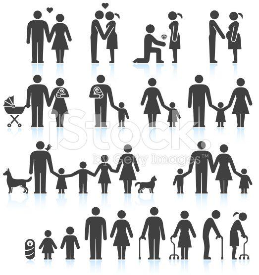 Men and women Family Life black & white icon set in 2020