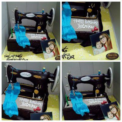 Kue ulang tahun #coklat #3D #mesinjahit #cake #sewingcake #birthday #birthdaycake