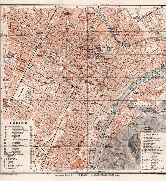 1928 Torino mappa antica, Torino, Italia, Nord Italia, Piemonte, fiume Po, Mole Antonelliana, stampa d'epoca