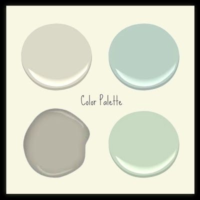 Benjamin Moore Makes My Heart Go Pitter Patter-Revere Pewter, Wythe Blue, Van Alen Green and Asford Greige.  Most are from the historical collection.  I used Acadia White for the background on this image. by bernadine