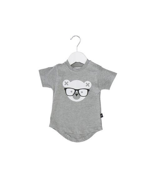 nerd bear drop back t-shirt - grey marle