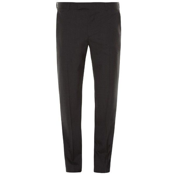 Alexander McQueen Slim-fit trousers ($497) ❤ liked on Polyvore featuring men's fashion, men's clothing, men's pants, men's casual pants, charcoal, mens slim pants, mens slim fit pants and mens formal pants