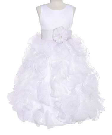Another great find on #zulily! White Flower Lettuce-Edge Ruffle Dress - Girls by Growing Up #zulilyfinds