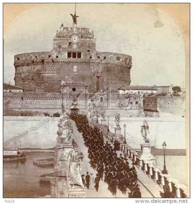 Italy ~ ROME ~ Castle Of San Angelo Stereoview 1905/12713