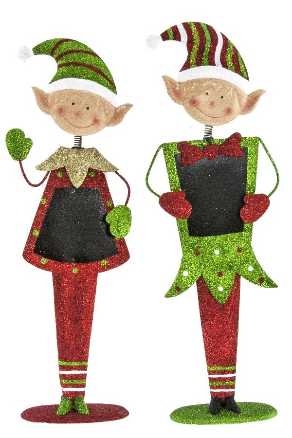 "These cute 20"" chalkboard elves are sure to welcome all with a huge smile! Item 57914."