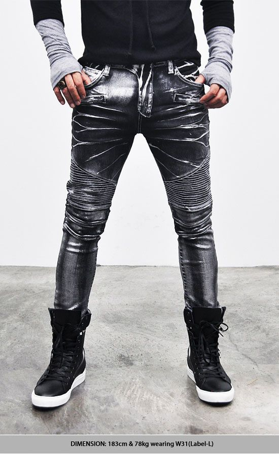 Mens Faux Leather Jeans