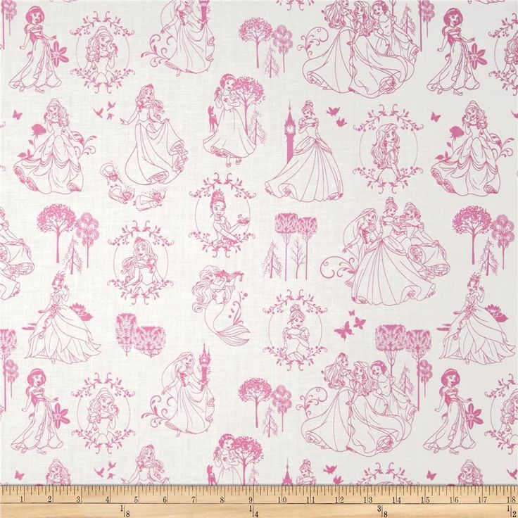 Licensed by Disney to Camelot Fabrics, this magical Disney princess cotton print is perfect for quilting, apparel and home décor accents. This is a licensed fabric and not for commercial use. Colors include pink and white.