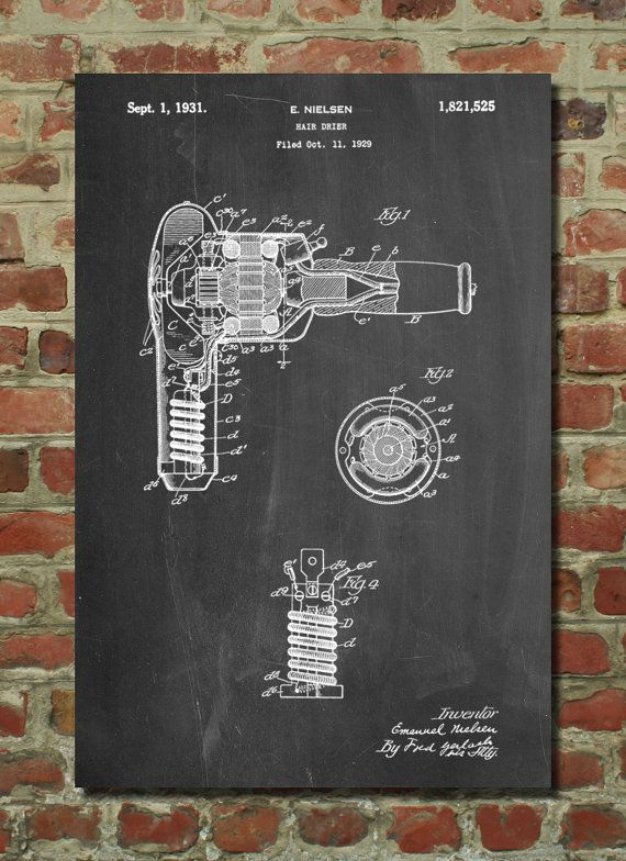 Vintage Hair Dryer Patent Poster, Bathroom Wall Decor, Hair Salon Decor, Vanity Decor, Girls Room Decor, PP265