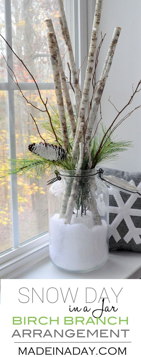 Snow Day in a Jar Birch Branch Arrangement, Buffalo snow, pine cone, pine stems, birch stems, winter floral via @madeinaday