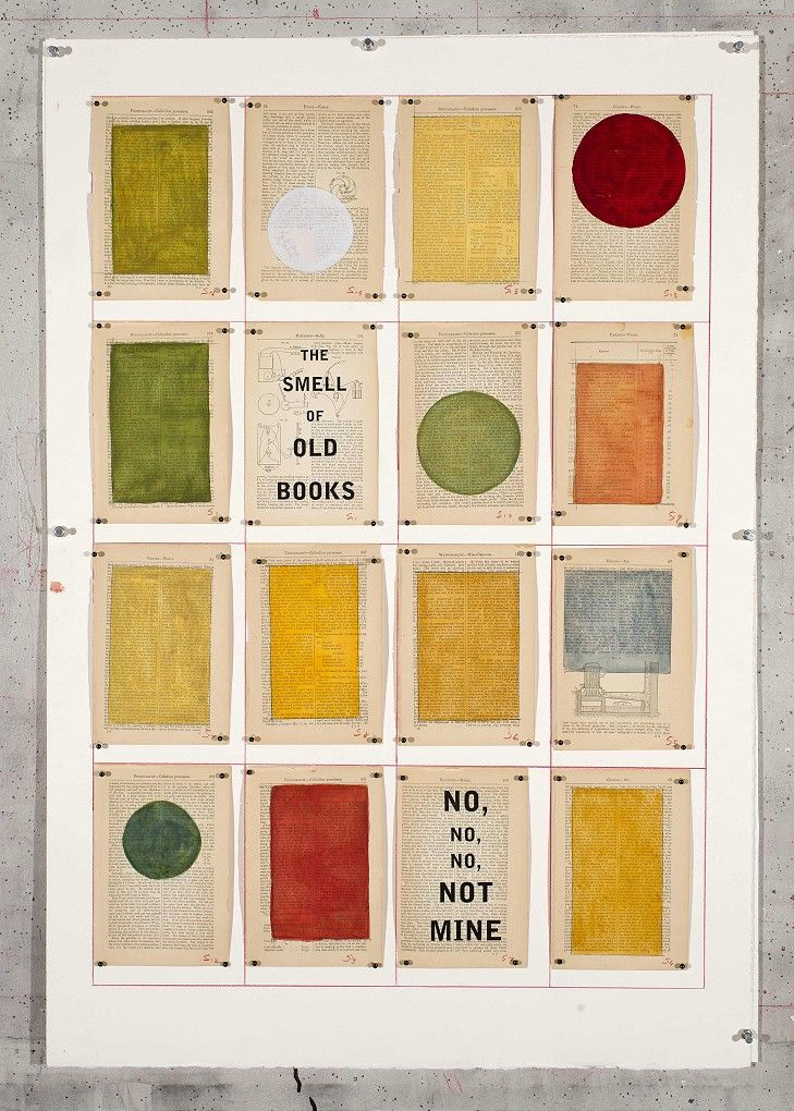 William Kentridge, The Smell of Old Books, 2012, Drawing, Water colour and pencil on book pages