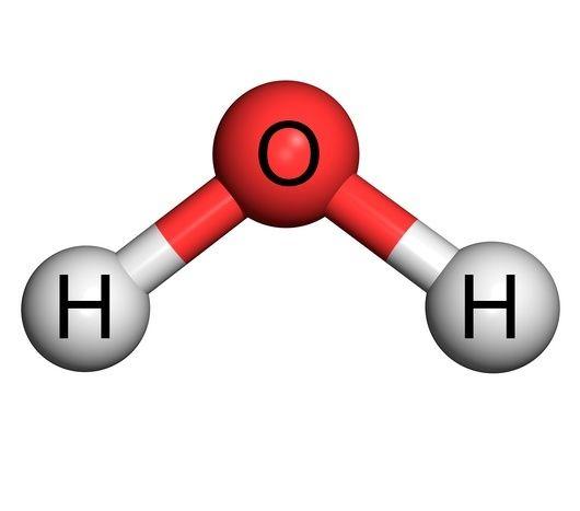 Dos átomos de hidrógeno y de oxígeno representan la composición química de la molécula de agua. Aunque hay una relación química entre un átomo de hidrógeno