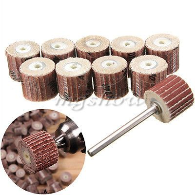 10pcs Flap Wheel Disc Shaft Abrasive Sanding Drill Polish For Dremel Rotary | eBay