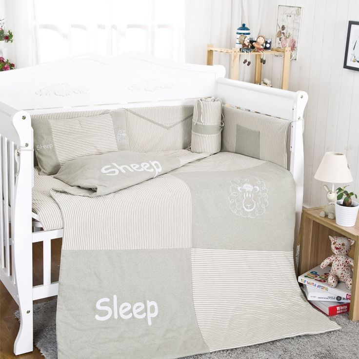 165.99$  Watch here - http://ali8bt.worldwells.pw/go.php?t=32722617087 - 10Pcs Cotton Baby Cot Bedding Set Newborn Cartoon sheep Crib Bedding Quilt Pillow Bumpers Sheet Cot Bed Linen 120*60cm