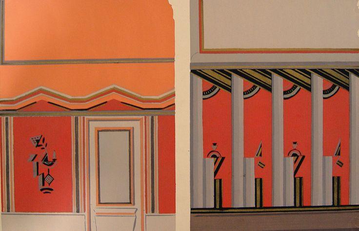 Deco Interior Pochoir in Orange, 1929