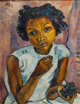 Portrait of a girl eating grapes By Irma Stern ,1933
