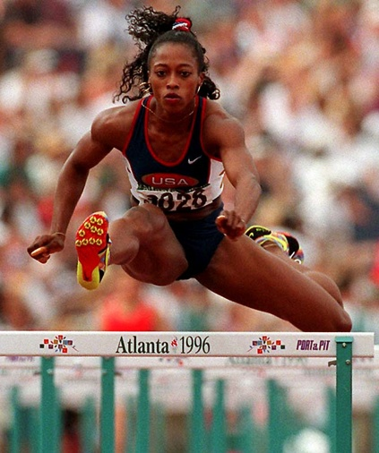 Gail Devers is a three-time Olympic track gold medalist, winning two gold medals in the 100m (1992 and 1996) and one in the 4X100m relay in 1996.