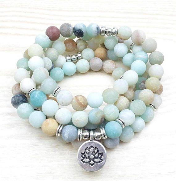 Amazonite 108 Mala Wrap Bracelet or Necklace silver lotus