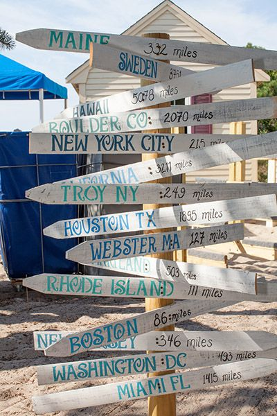 Honor your guests who traveled from far away to be with you on your wedding day with this fun sign.