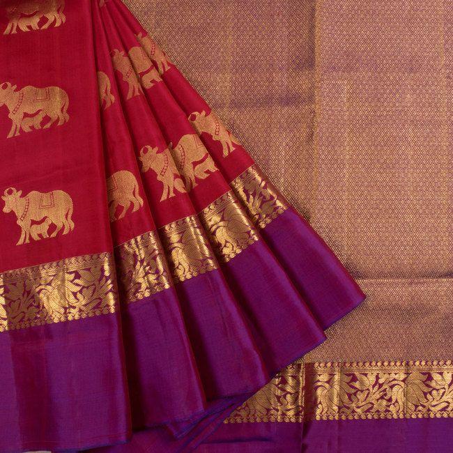Handwoven Pinkish Red South Silk Saree With Peacock Motifs Pallu & Ganga Jamuna border 10018625 - AVISHYA.COM