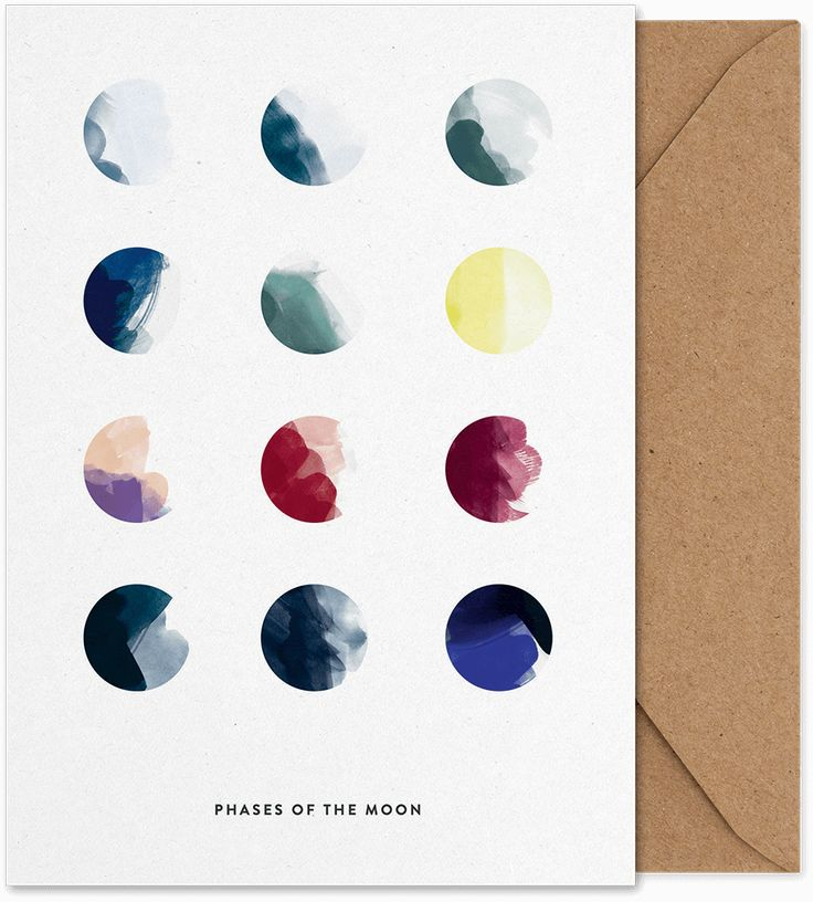 Moon Phases Art Card by All The Way To Paris.  Buy art card at https://paper-collective.com/product/moon-phases-art-card/ #papercollective #design #artcard #card #postcard #artprint #print #poster #illustration #drawing # homedecor #decor #wallart