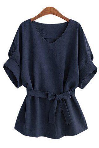 Stylish V-Neck Half Sleeve Solid Color Women's BlouseBlouses | RoseGal.com