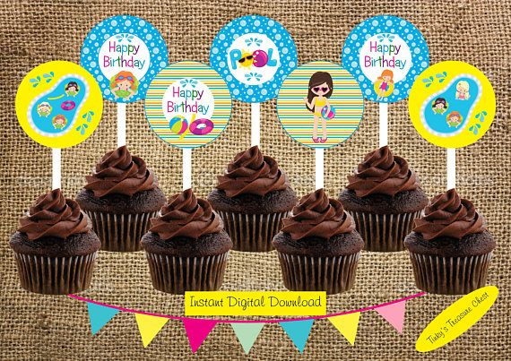 Pool Party Cupcake Toppers. Instant Download Digital File.