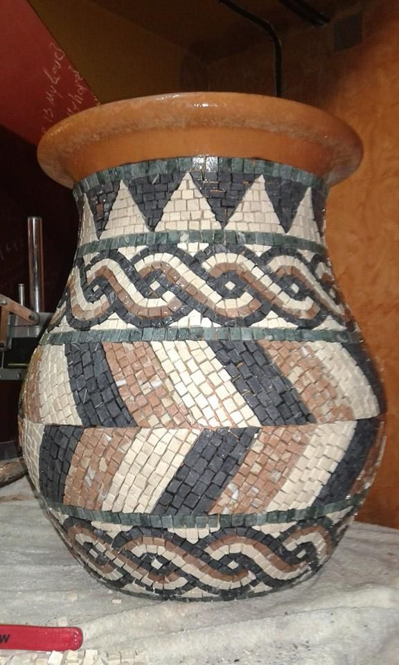 Lovely mosaiced vase Greek style!