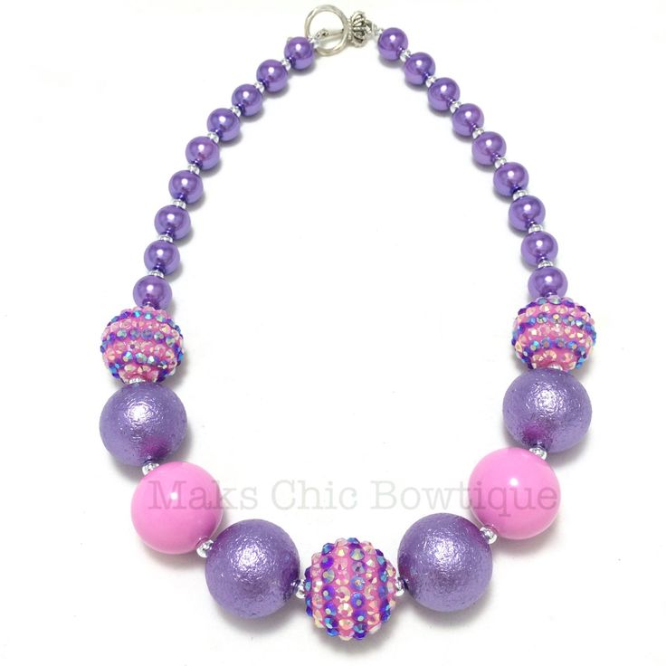 Toddler or Girls Pink and Purple Striped Chunky Pearl Necklace - Princess Purple Chunky Necklace - Girls Unicorn Chunky Necklace - Spring by MaksChicDesigns on Etsy