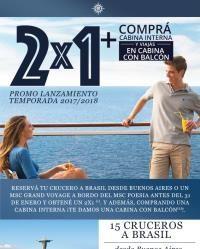 MSC Cruceros - ¡Imperdible! 2x1 y cabina con balcón en Sudamérica y Grand Voyages