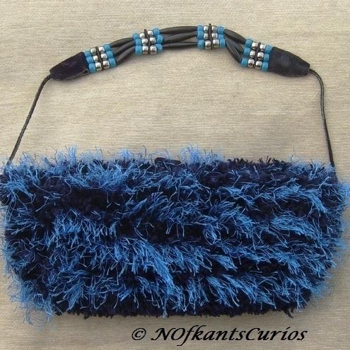 Blue Velvet! Hand knitted, Velvet lined Handbag & Leather & Bead strap £14.00