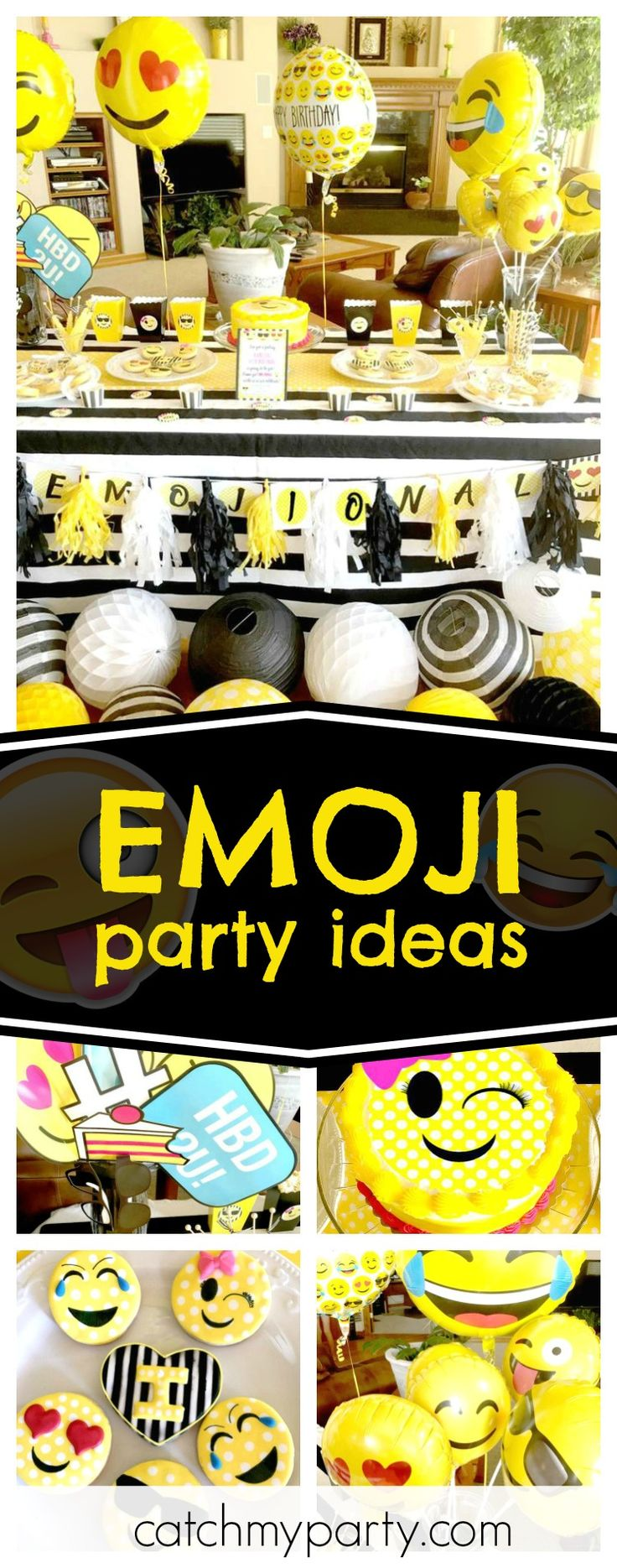 Check out this fun double digit Emoji birthday party. The decorations are awesome!! See more party ideas and share yours at CatchMyParty.com