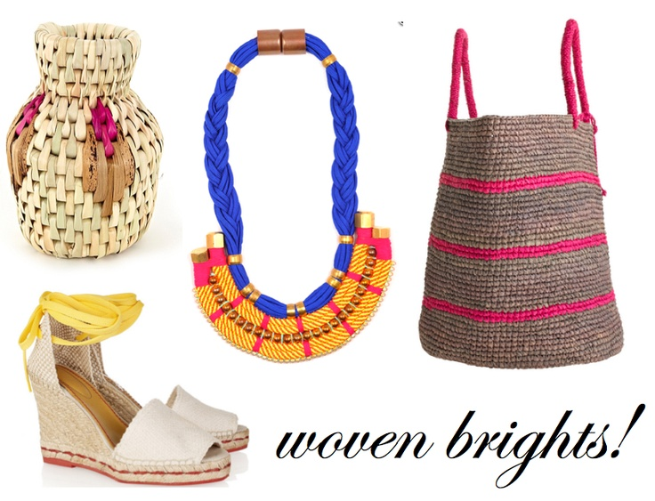 woven brights!: Bright Summer, Woven Bright, Summer Necklaces, Baskets, Summer Accessories, Espadril, Style File