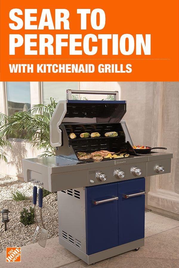 Kitchenaid 3 Burner Propane Gas Grill In Black With Ceramic Sear Side Burner 720 0953 Outdoor Kitchen Design Gas Grill Outdoor Kitchen
